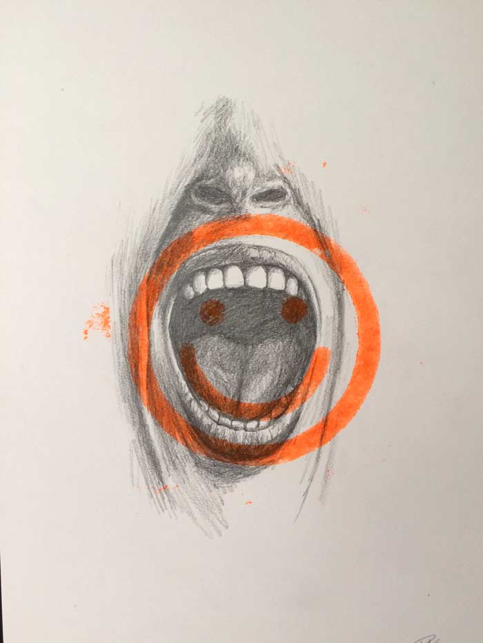 Happiness drawing print art with mouth smiley