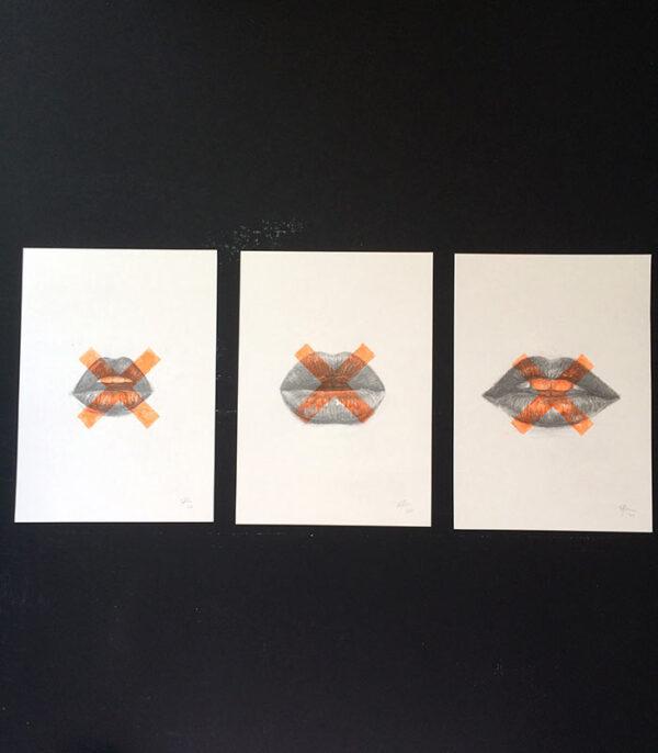 Kisses drawings prints art
