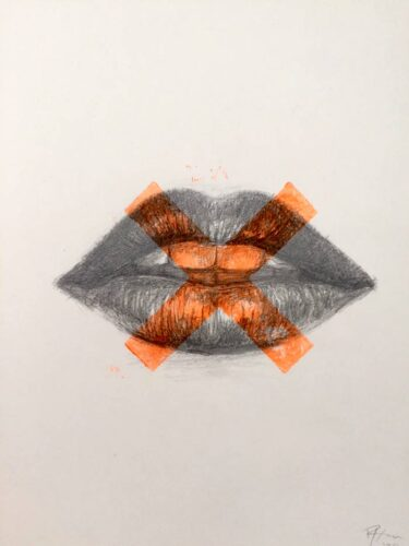 Kisses lips drawing print art