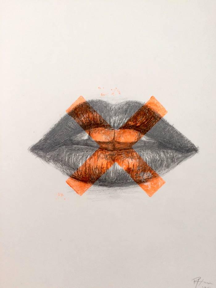 Kisses lips drawing print art