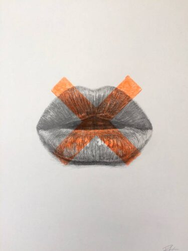 Kisses drawing print art