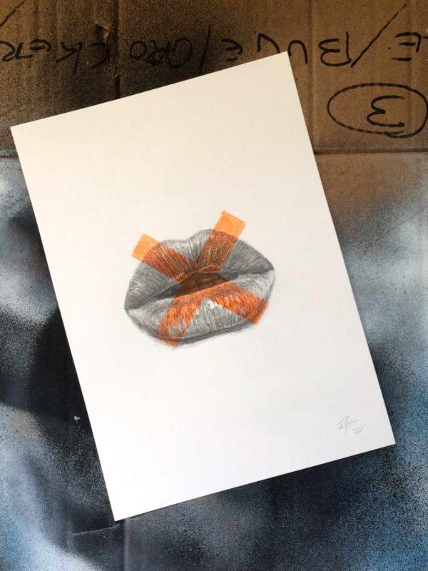 Kisses drawing print art lips